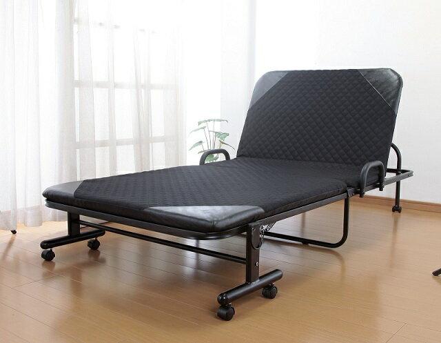 【送料無料】折りたたみリクライニングベッド 収納式リクライニングベッド シングルサイズ 折り畳みベッド