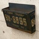 アンティーク調 マガジンラック ウォールラック TINナンバープレート[マガジンラック] ブリキ アンティーク雑貨 レトロ 壁掛けラック