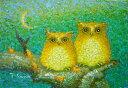 額装油絵 油絵 肉筆絵画 SM 佐野千恵子作 「開運招福 シマフクロウ」-新品