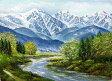 油絵 肉筆絵画 F20サイズ 「白馬岳」 丹羽 勇 木枠付 -新品