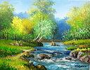 美術, 美術品, 古董, 民間工藝品 - 油絵 肉筆絵画 M6サイズ 「奥入瀬渓流」 羽沢 清水 木枠付 -新品