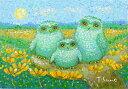 油絵 肉筆絵画 F4サイズ 「花ふくろう」 佐野 千恵子 木枠付 -新品