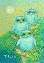 油絵 肉筆絵画 F4サイズ 「吉ふくろう」 佐野 千恵子 木枠付 -新品