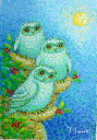油絵 肉筆絵画 F4サイズ 「満月のふくろう」 佐野 千恵子 木枠付 -新品