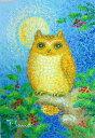 油絵 肉筆絵画 F6サイズ 「コノハズク」 佐野 千恵子 木枠付 -新品