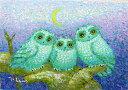 油絵 肉筆絵画 F6サイズ 「聖夜のふくろう」 佐野 千恵子 木枠付 -新品