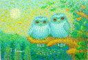油絵 肉筆絵画 F6サイズ 「福ふくろう」 佐野 千恵子 木枠付 -新品
