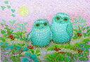 油絵 肉筆絵画 F4サイズ 「祝ふくろう」 佐野 千恵子 木枠付 -新品