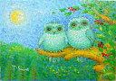 油絵 肉筆絵画 SMサイズ 「月夜のふくろう」 佐野 千恵子 木枠付 -新品