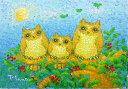 油絵 肉筆絵画 F4サイズ 「三羽のコノハズク」 佐野 千恵子 木枠付 -新品