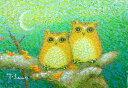 油絵 肉筆絵画 F4サイズ 「シマフクロウ」 佐野 千恵子 木枠付 -新品