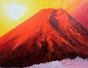 油絵 肉筆絵画 F4サイズ 「赤富士」 谷口 春彦 木枠付 -新品
