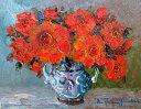 油絵 肉筆絵画 F4サイズ 「赤薔薇(縦・横)」 谷口 春彦 木枠付 -新品
