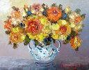 油絵 肉筆絵画 SMサイズ 「黄薔薇(縦・横)」 谷口 春彦 木枠付 -新品