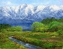 油絵 肉筆絵画 P15サイズ 「立山連峰を望む」 小川 久雄 木枠付 -新品