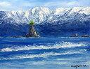 油絵 肉筆絵画 F20サイズ 「雨晴海岸」 小川 久雄 木枠付 -新品