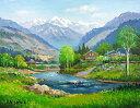 油絵 肉筆絵画 M10サイズ 「飛騨高山」 羽沢 清水 木枠付 -新品