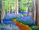 油絵 肉筆絵画 F3サイズ 「ブルーベルの森」 羽沢 清水 木枠付 -新品