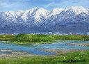 油絵 肉筆絵画 F4サイズ 「立山連峰」 小川 久雄 木枠付 -新品
