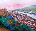 油絵 肉筆絵画 F15サイズ 「ハイデルベルク」 島本 良平 木枠付 -新品