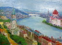 油絵 肉筆絵画 F10サイズ 「ブダペスト(ハンガリー)」 島本 良平 木枠付 -新品