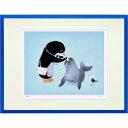 絵画 リトグラフ 額縁付 アートフレーム 菜生作 「ペンギン先生の往診」 太子サイズ -新品