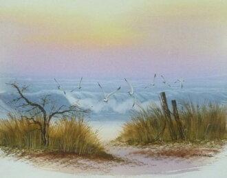 水彩畫 《 波海景 》-M9-全新-討價還價