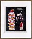 絵画 額縁付き 額装 リトグラフ 藪上 陽子作 「しまうまとケーキ」 四ッ切 -新品