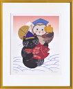 絵画 額縁付き 額装 リトグラフ 米澤 彩作 「恵比寿猫と大黒ふくろう」 四ッ切 -新品