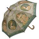 ショッピング木製 名画 木製ジャンプ傘 ミュシャ「蔦と夢想」 AU-02205 雨傘 名画コレクション-新品