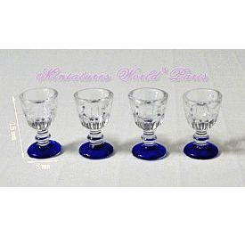 Miniature gadgets with a plastic champagne glass feet blue set of 4