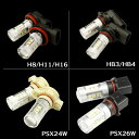 80W LEDバルブ Cree 高輝度LED採用品 16連 ホワイト SMD 3chip H8 H11 H16 HB4 PSX24W PSX26W フォグ