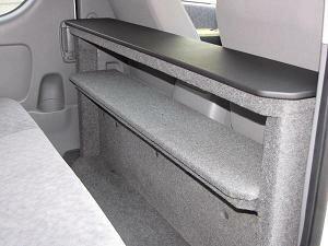 ハイエース200系 コンパクト折りたたみテーブル 2列目収納/グレー