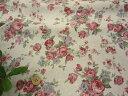 【リネン 生地】綿麻キャンバス アンティーク 薔薇柄 ローズ40E2a