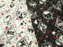 【綿布地 アリス柄生地】  不思議の国のアリス布地 シルエットアリス、レース、バラ柄 2色 200K1
