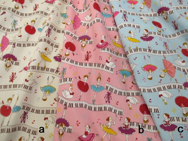 【綿生地 布地】入園、入学用品製作にピアノの鍵盤とバレリーナ柄 オックス生地 30cm以上10cm単位販売 3色 204N4