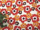 【綿生地 布地】北欧風花柄 インテリアファブリック リトルフフラ レッドXオレンジ 150cm幅
