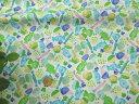 【綿生地 布地】 水彩画風タッチ キャンディー柄布地 ブルー系 199E3