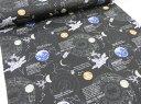 宇宙ステーション ブラック黒 オックス生地【DM便2m可】 |木星|地球|ロケット|星座|ホロスコー