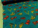 働く車 ブルー オックス生地【メール便2m可】 くるま自動車 生地 布地 綿 コットン 手作り 手芸 ハンドメイド 入園 入学 男の子