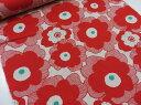 綿麻 マリメッコ風大きな花柄 レッド赤 キャンバス生地【DM便2m可】コットンこばやし|北欧風|リネン|生地|布地|コットンリネン|麻|エプロン|スカート|小物|バッグ|インテリア|ソーイング|洋裁|