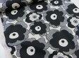 綿麻 マリメッコ風大きな花柄 ブラック黒 キャンバス生地【DM便2m可】コットンこばやし|北欧風|リネン|生地|布地|コットンリネン|麻|エプロン|スカート|小物|バッグ|インテリア|ソーイング|洋裁|