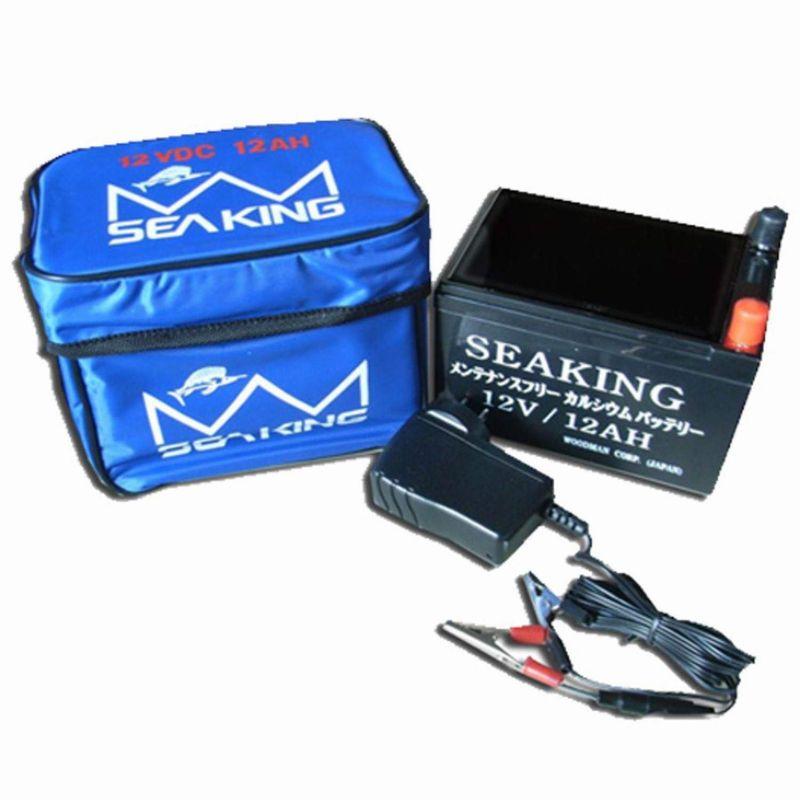 送料無料店長一押しシーキングバッテリ−12V12Aオート充電器付メンテフリー(電動リールバッテリー船