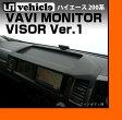 【UIvehicle/ユーアイビークル】ハイエース 200系 トレイ付きナビモニターバイザー Ver1 ワイドボディ 1〜4型型(スーパーGL,S-GL,GL,DX,グランドキャビン)反射で見にくい画面の日除け!!直射日光が当たっても熱で反らない安心の日本製!