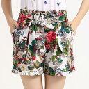 リボン ベルト ひも付き レディース ボトムス ファッション パンツ ショットパン さわやか 花柄 ズボン オシャレ 春 夏