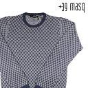 【S】 +39 masq マスク 丸首セーター メンズ チェック ネイビー 紺 並行輸入品 メンズファッション 男性用 ビジネス ニット 日本未入荷 ラッピング無料 送料無料