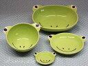 ベビー食器に!安心な日本製 カエルの陶器楕円ボウル茶碗小皿箸置4点セットフロッグ(子供)