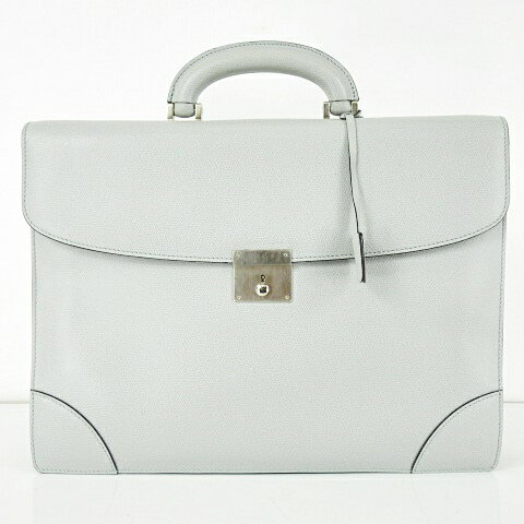 43db582417f6 ヴァレクストラ Valextra ブリーフ ケース ビジネス バッグ レザー 鍵付き ライトグレー カバン 書類かばん 鞄