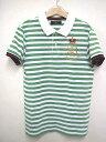 ザラ ZARA MAN Royal Experience ポロシャツ ボーダー ロゴ 刺繍 王冠 半袖 緑 白 S 0426☆☆HO-998 メンズ 【ベクトル 古着】【中古】 160620