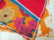 ザラ ZARA スカーフ ストール スクエア型 花柄 ボタニカルプリント 大判 正方形 コットン オレンジ 赤 レディース 【ベクトル 古着】【中古】 160814
